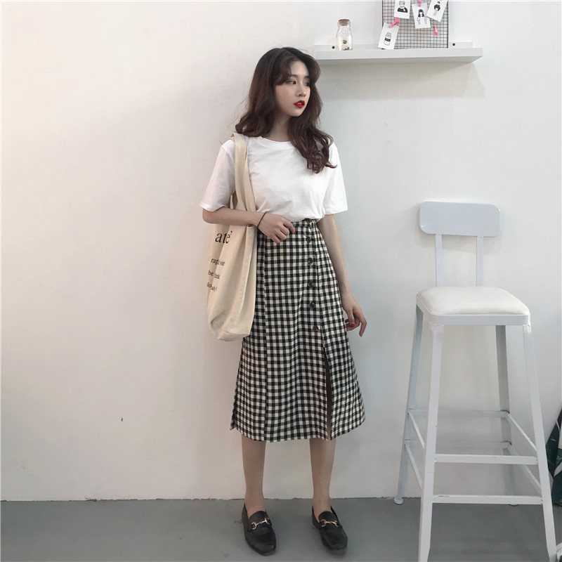 Korean-style New Style Slit Retro Smell Elastic Waist Plaid A- Line Skirt Photo Shoot