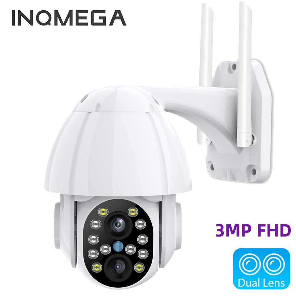 INQMEGA 3MP FHD PTZ Wifi Camera Outdoor 3.6mm+12mm Dual Lens 4X Zoom Speed Dome Smart IP Camera 40M Color IR CCTV Camera CMOS