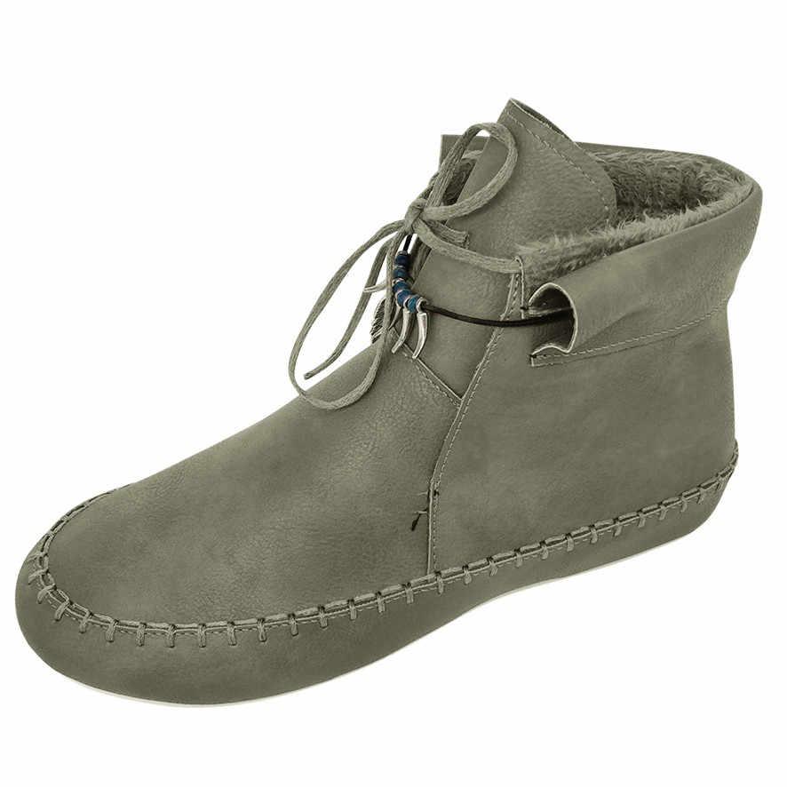 2020 yeni bahar kış kadın bayanlar moda rahat sıcak Lace Up kısa yarım çizmeler düz deri ayakkabı halk özel çizmeler bayan #22