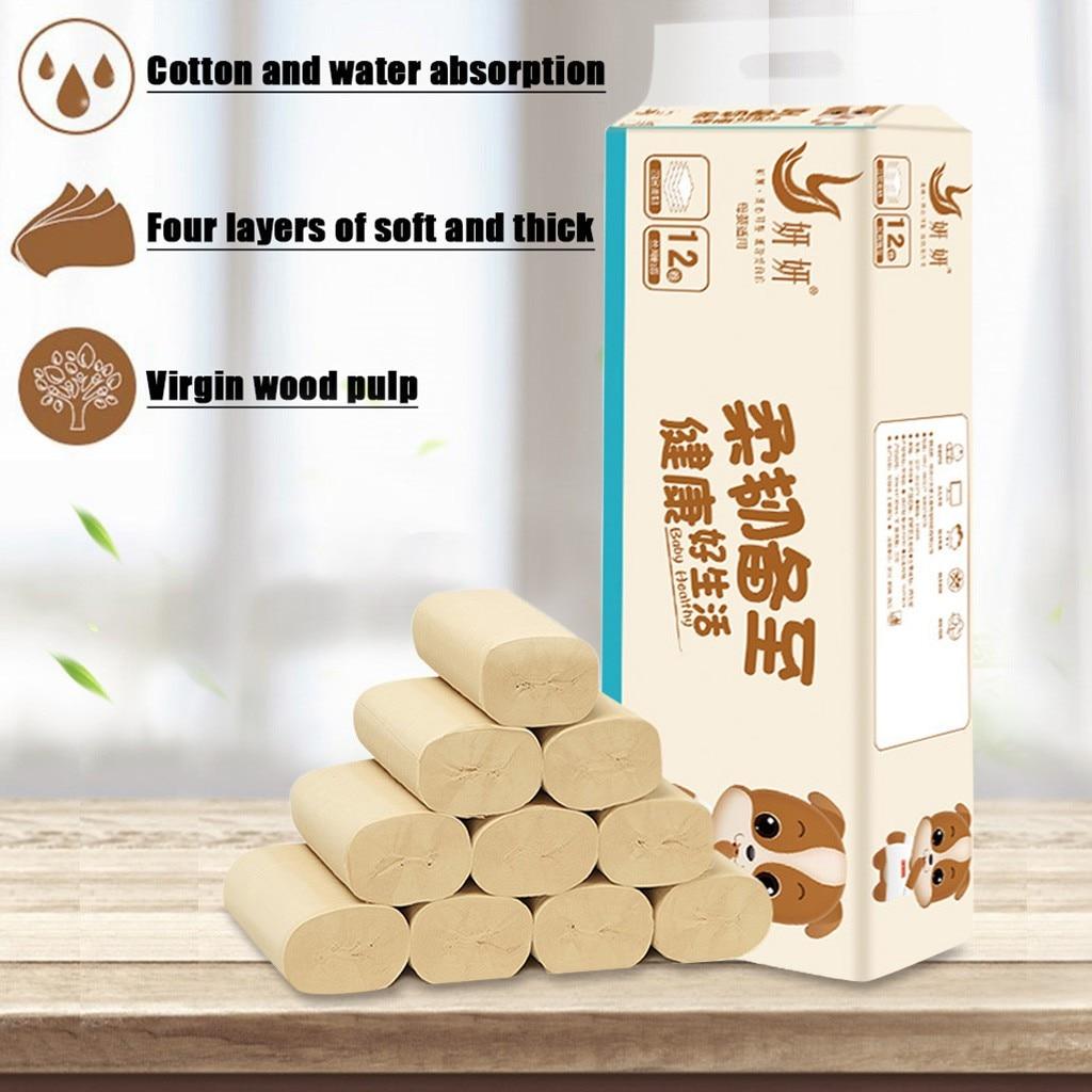 4 Ply 12 Rolls Toilet Paper Bulk Rolls Bath Tissue Paper Household Bathroom Soft Household Tissue Napkins Wholesale Dropshipping