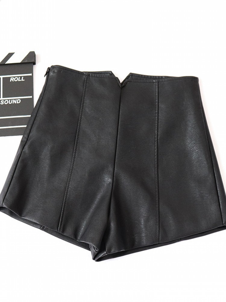 Pu Leather Shorts Ladies 2019 New Autumn And Winter Wear Short Leather Sexy High Waist Sexy Primer