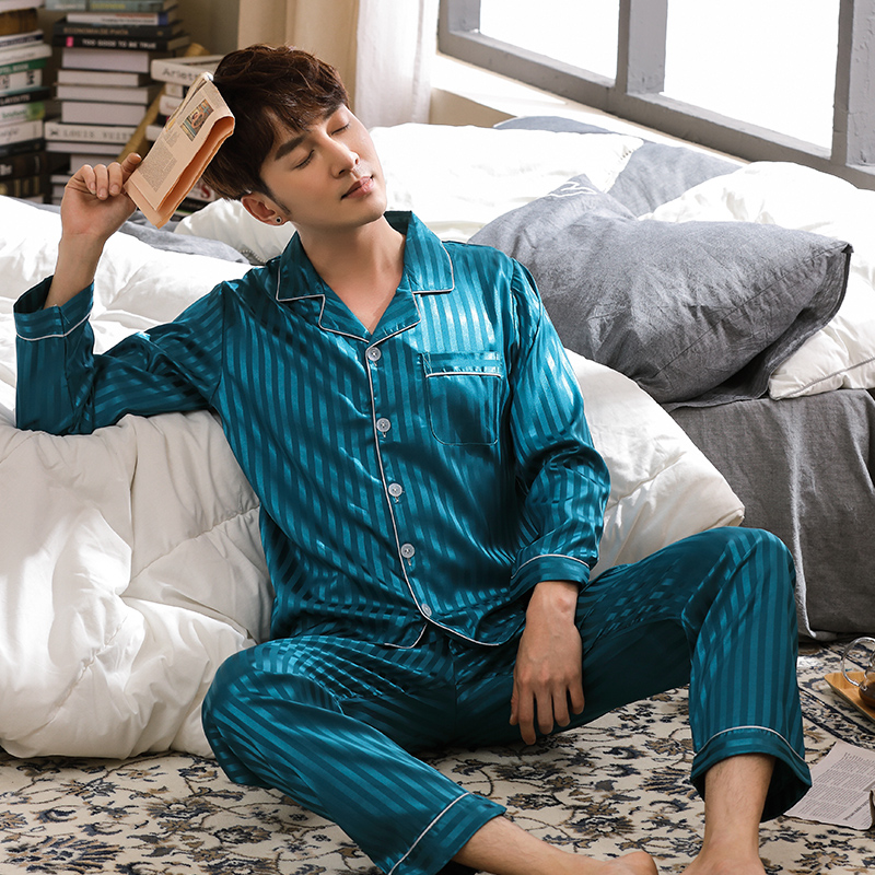 New Spring Autumn Long Striped Men's Imitate Silk Pajamas Set Cardigan Sleepwear Plus Size L-3XL Male Homewear Fashion Clothing