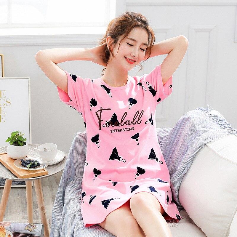 2019 Verão Vestido de Noite Das Mulheres Plus Size Camisola Curta-mangas Camisola Nightdress Pijamas de Algodão Dos Desenhos Animados Imprimir Sleepshirts