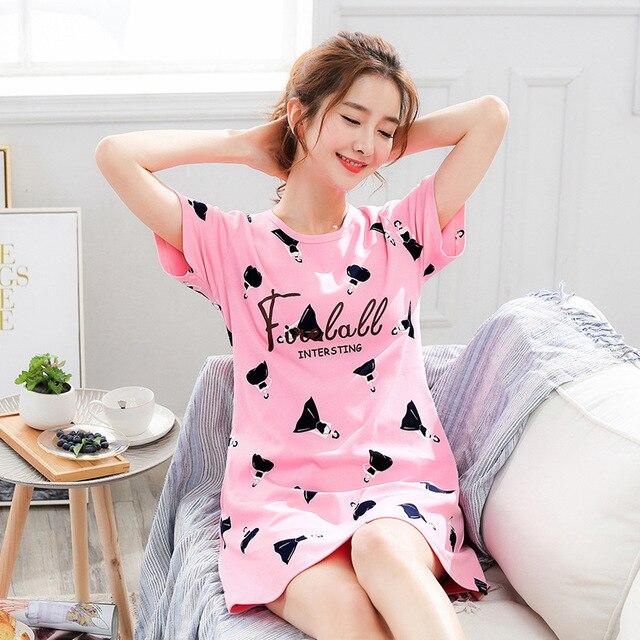 2020 Summer Night Dress Women Plus Size Nightgown Cartoon Print Sleepshirts Short sleeves Nightie Nightdress Cotton Sleepwear