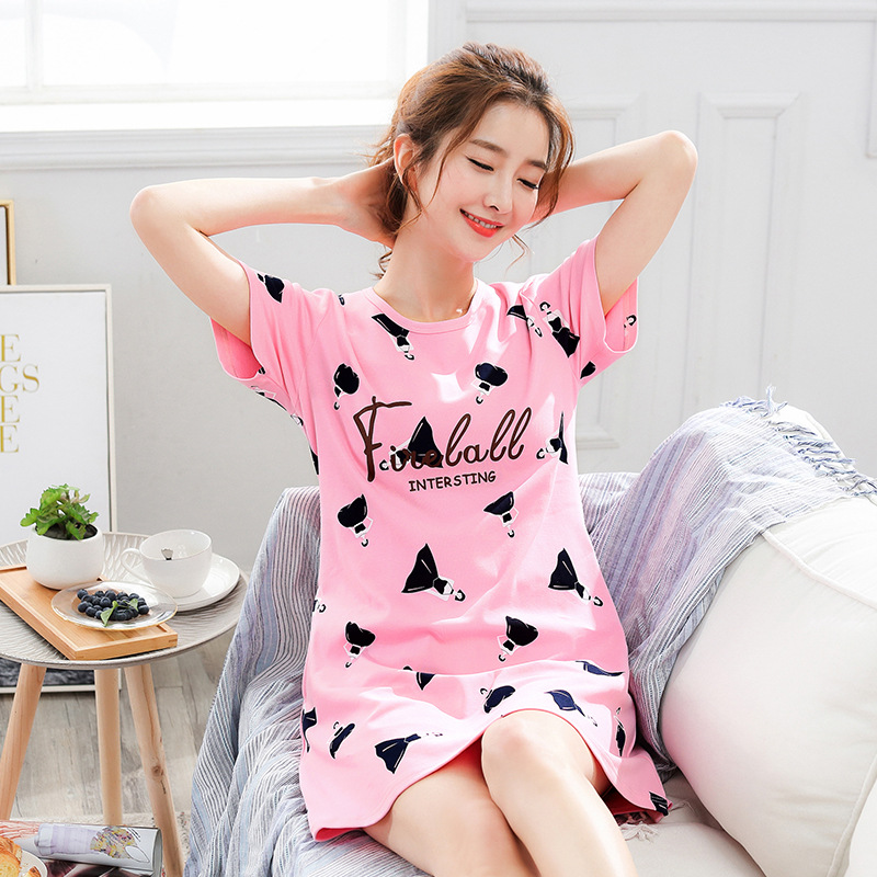 2020 Summer Night Dress Women Plus Size Nightgown Cartoon Print Sleepshirts Short-sleeves Nightie Nightdress Cotton Sleepwear title=