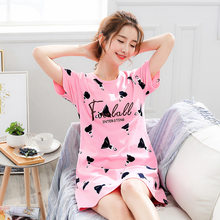 2021 Summer Night Dress Women Plus Size Nightgown Cartoon Print Sleepshirts Short-sleeves Nightie Nightdress Cotton Sleepwear