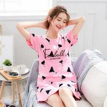 Camisola feminina plus size estampa desenho animado, noite, manga curta, roupa de dormir, algodão, verão, 2020