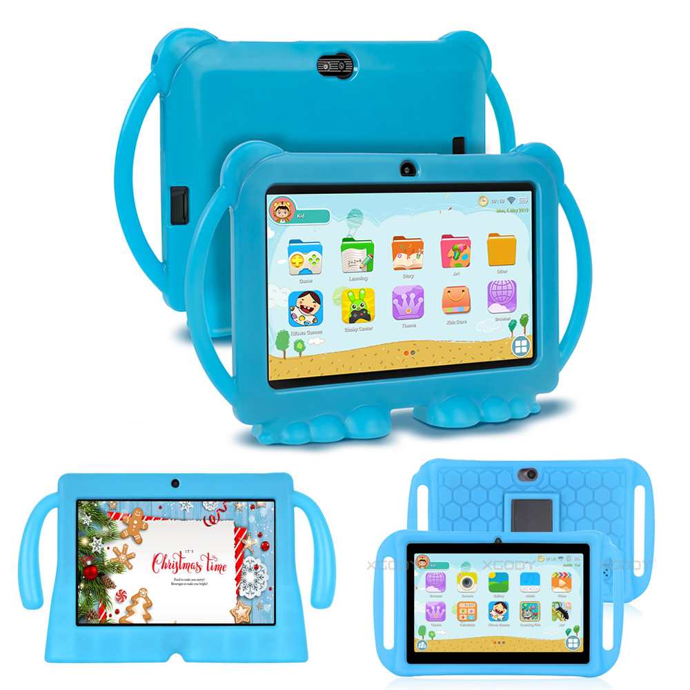 7 Inch Children Double Tablet Kids Learning Education Game Tablet Birthday Gift Silicone Case Tablet 1GB 16GB