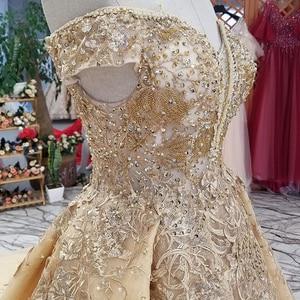 Image 4 - Ls65740 황금 꽃 아름 다운 드레스 중국에서 빠른 배송 어깨 아가씨 레이스 위로 a 라인 저렴 한 이브닝 드레스