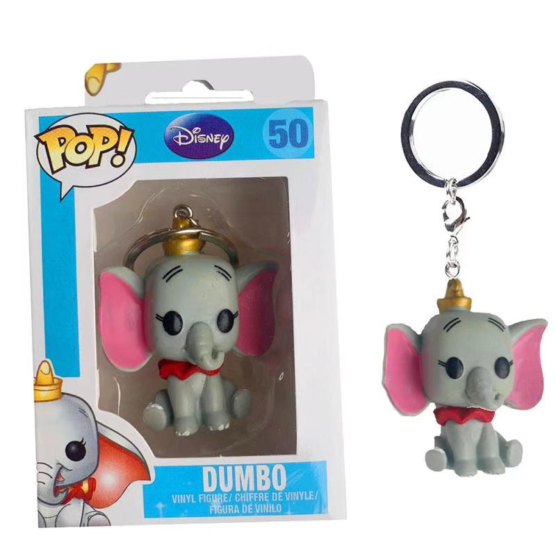 FUNKO POP Disney Cartoon Cute Pocket POP Keychain Dumbo PVC Action Figure Collection Model Toys For Children Christmas gifts