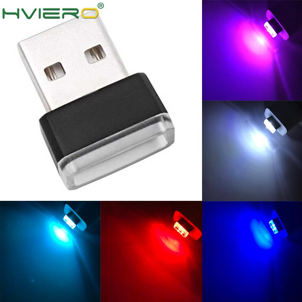 Auto USB LED Atmosphere Lights Decorative Lamp Auto Emergency Lighting Universal PC Portable Plug And Play Red Blue White Pink