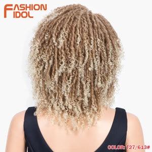 Image 2 - FASHION IDOL Soft Short Synthetic Wigs For Black Women 14 inch High Temperature Fiber Dreadlock Ombre Burg Crochet Twist Hair