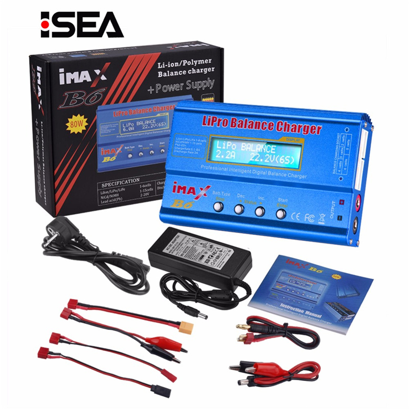 HTRC iMAX B6 80W Battery Charger Lipo NiMh Li-ion Ni-Cd Digital RC IMAX B6 Lipro Balance Charger Discharger + 15V 6A Adapter