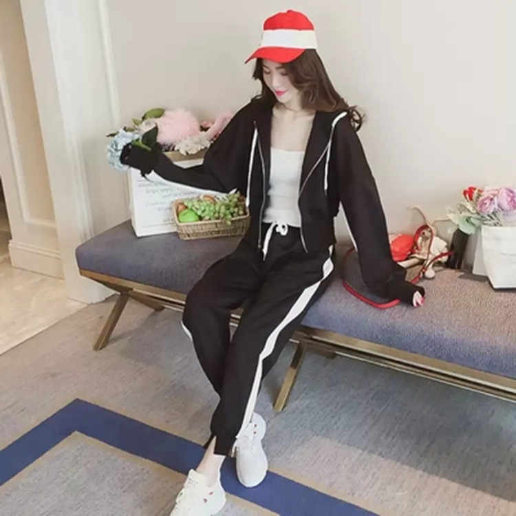 Frauen Kleidung Auch Mitternacht Motion Trainingsanzug Anzug Pullover Einfarbig Lange ärmeln Hosen Lose Freizeit Twinset 2PCS set