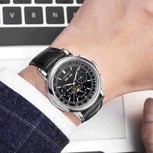 Montre bracelet mécanique pour hommes, 42m, en acier inoxydable 316L, Phase lunaire