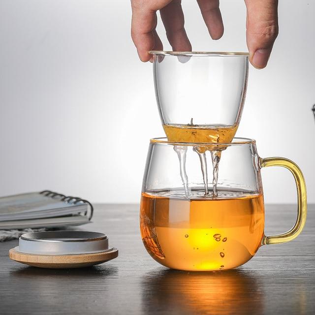 البورسليكات الزجاج الشاي قدح مزود بمصفاة كوب مع شفافة تصفية مقبض غطاء من البامبو غطاء ارتفاع درجة الحرارة المقاومة زهرة فنجان الشاي