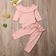 Одежда для новорожденных девочек одежда малышей однотонный комбинезон