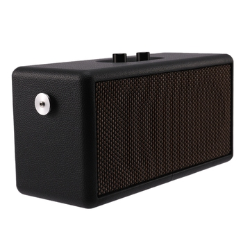 Retro Wooden Dual Speaker Bluetooth Speaker Home Computer Phone Outdoor Portable Leather Speaker
