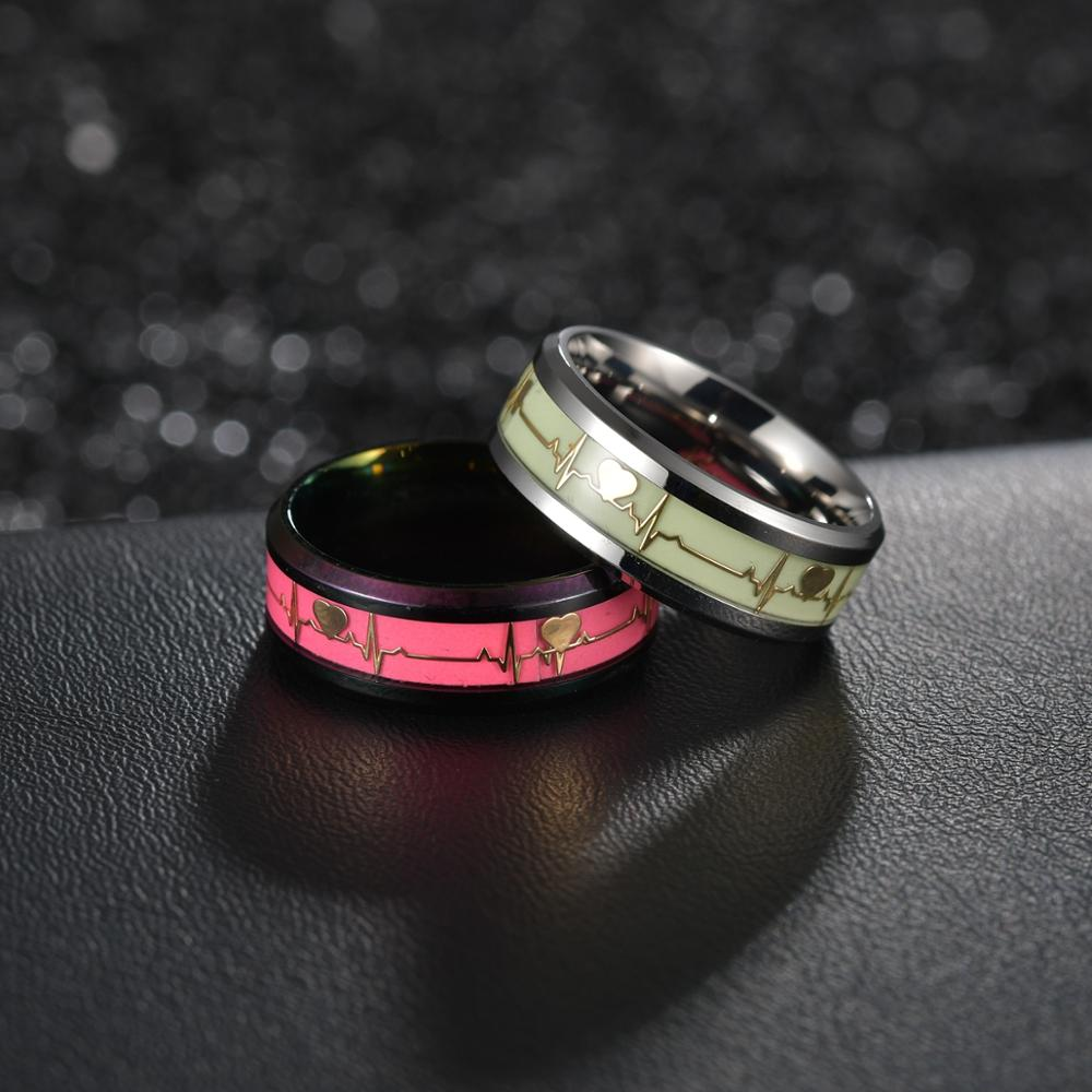Luminous ECG Ring Stainless Steel Promise Heartbeat Glowing Jewelry for Men Women