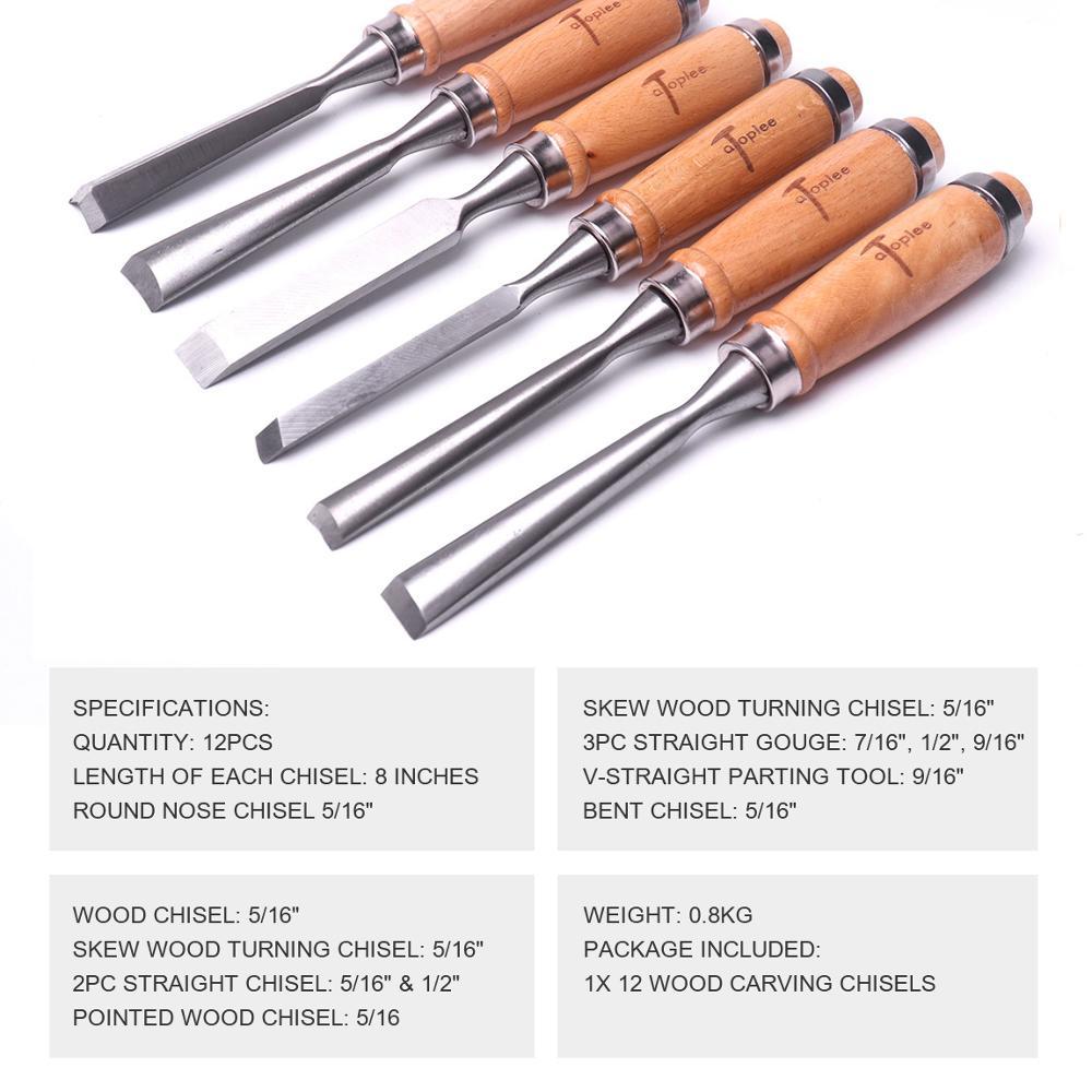 Atoplee Professional 12Pcs Set Scalpello per intaglio del legno - Utensili manuali - Fotografia 3