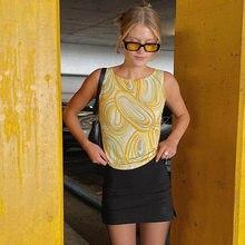 2021 verão nova mulher amarelo água corrugado impressão contraste cor palavra colete sem mangas tanque de petroleiro topo bustier moda superior
