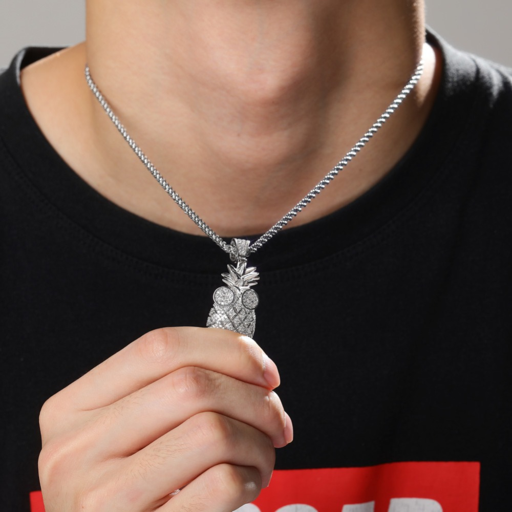 JINAO new ice out pineapple New Fashion Hip Hop Necklace Micro Pave Zircon Jewellery For Man Women gift
