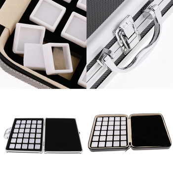 60 Grids Gem Beads Jars Showcase Stackable Jewelry Display Tray Zipper Bag