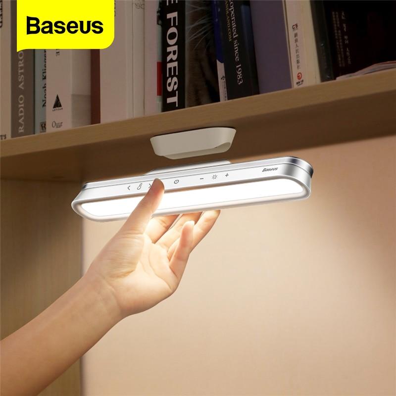 Baseus磁気テーブルランプぶら下げワイヤレスタッチledデスクランプホームキャビネット研究読書ランプ無段階調光usbの夜の光