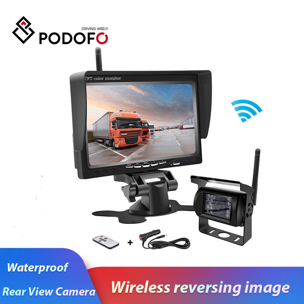 "Podofo Wireless Backup Parking System 7/"" HD Rear View Car Monitor with IR Night"