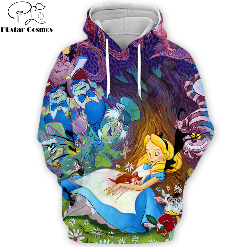 2019 Fashion Men Cartoon 3D Hoodies Anime movie Alice in Wonderland pattern Printed Sweatshirt/zip hoodie Unisex streetwear