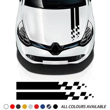 цена на Car Stripes Hood Sticker Racing Bonnet Sport Decal For Renault Megane Clio RS Captur Sandero Espace Twingo Scenic Laguna Trafic