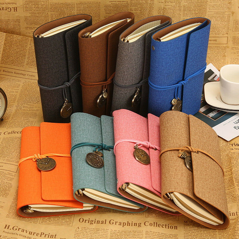 A6 Loose Leaf Paper Notebook Retro Strap Portable Bullet Journal Diary Planner Handbook PU Leather notebook in Notebooks from Office School Supplies