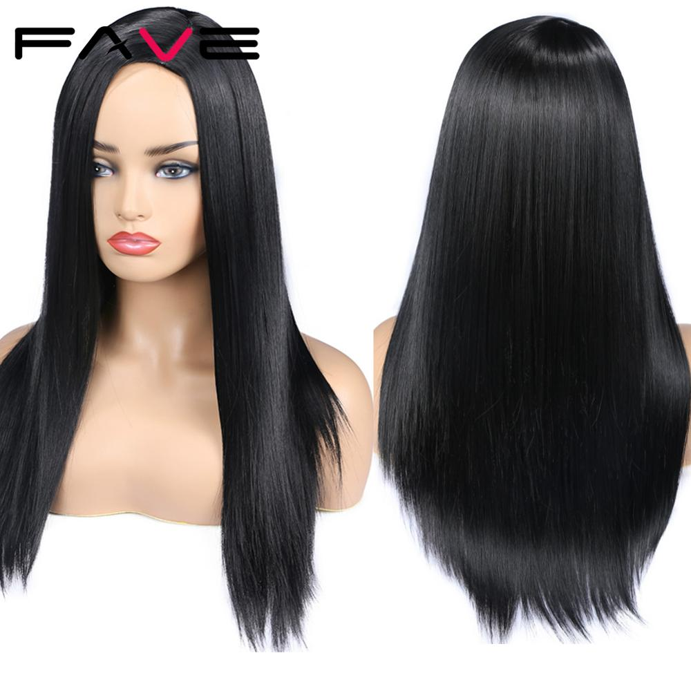 FAVE Long Straight Hair Synthetic Black Pink Blonde Side Part Wig Heat Resistant Fiber Cosplay For Black American African Women