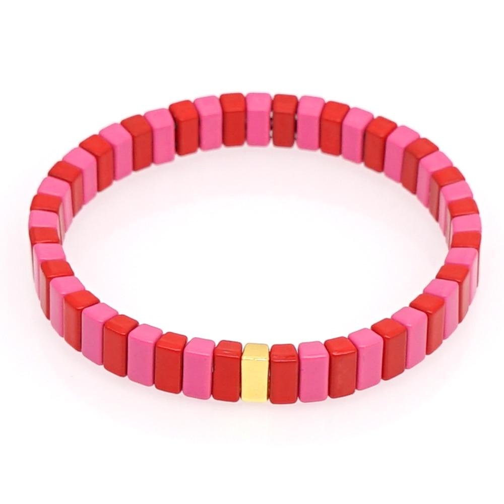 Shinus Charm Bracelets para Mujer brazaletes de hilo rojo esmaltado azulejos cuentas pulsera Pulseiras Mujer hecho a mano 2020 joyería de moda Mi Band 3 correa de reloj correa de muñeca Metal acero inoxidable para Xiaomi 3 Correa pulsera mi band 3 pulseras Pulseira
