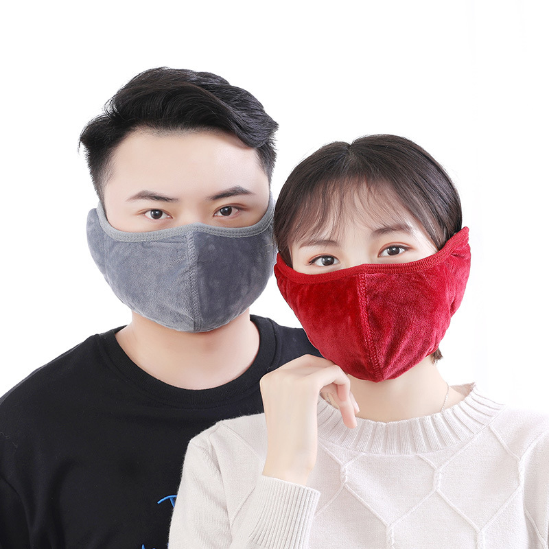 Women Men Ear Protective Mouth Mask Earmuff Windproof Anti Dust Winter Masks Breathable Flannel Solid Color Anti Haze Face Masks