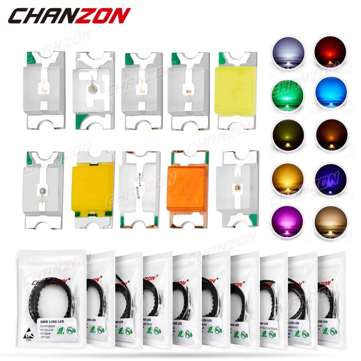 100 шт. 1206 SMD LED светодиод набор лампа чип светильник бусины теплый белый красный зеленый синий желтый оранжевый УФ розовый микро 3V SMT DIY
