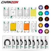 Kit de diodo LED SMD, 100 Uds., lámpara, Chip de luz, cuentas, blanco cálido, rojo, verde, azul, amarillo, naranja, rosa, Micro 3V, SMT, bricolaje