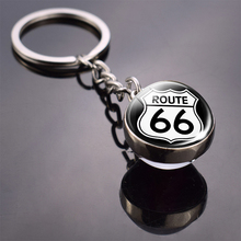 Route 66 Sign Glass Ball Keychain Men Women Punk Key Chain Holder Car RingsRoute Jewelry Travel Gifts FKG