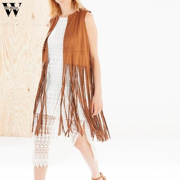 2019 Jacket Cardigan Faux Suede Women Autumn Winter Suede Ethnic Sleeveless Tassels Fringed Femme Slim Fit Cardigan фото