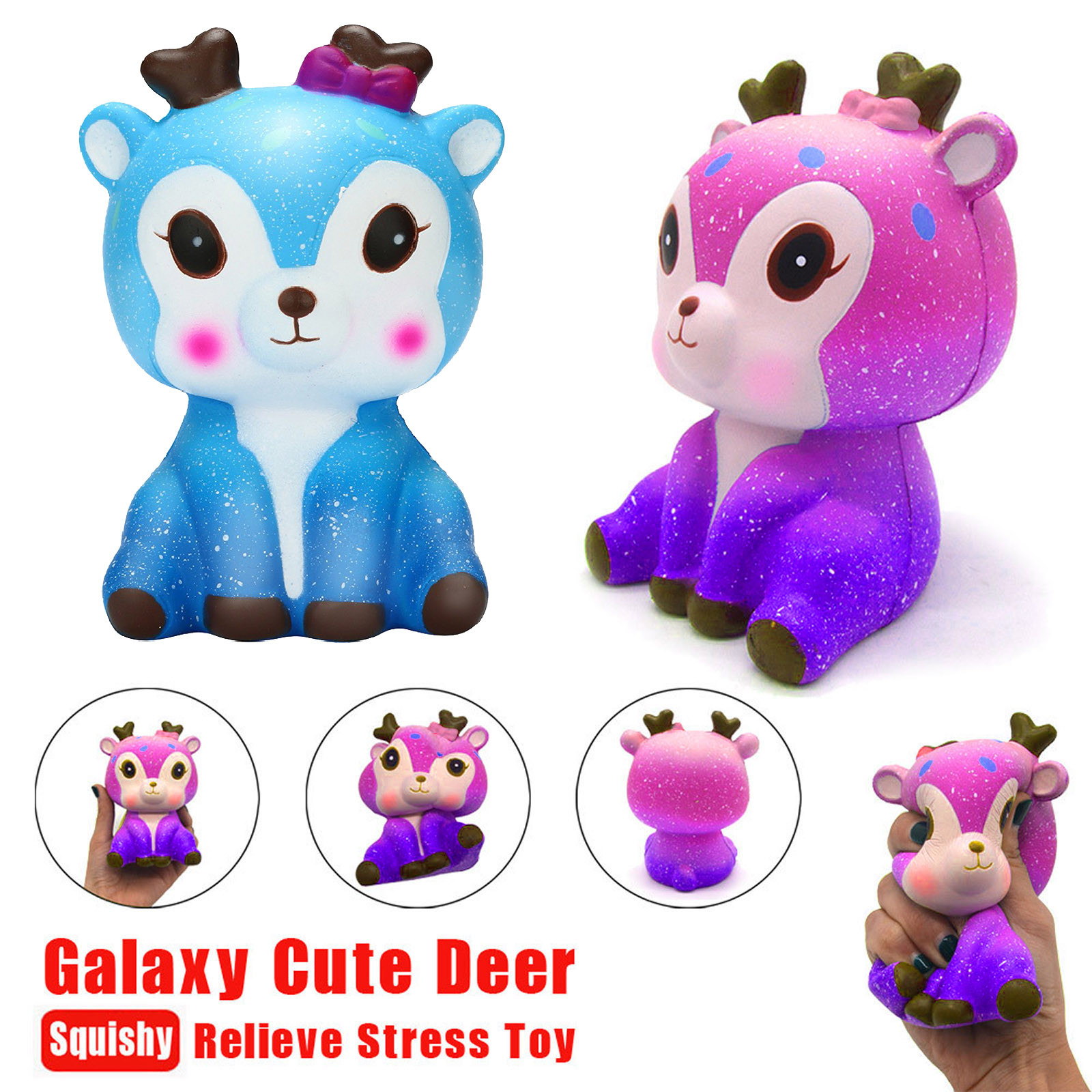 Decompression Toy Kawaii Cream Scented-Stress Slow Rising Reliever Cartoon Deer Galaxy