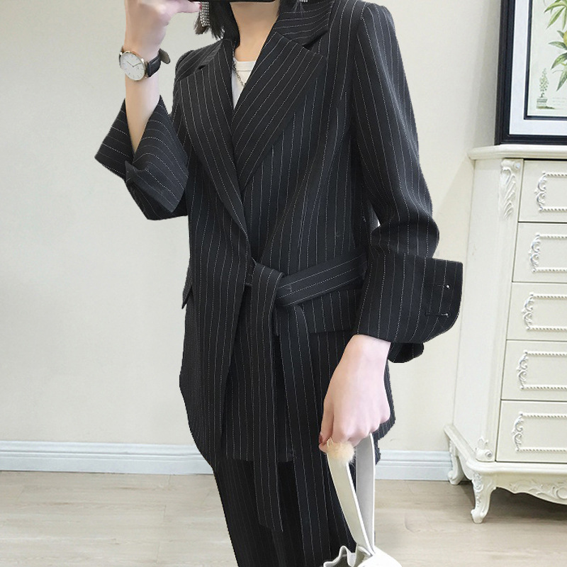 Women's Temperament Commute Two-piece Spring And Autumn New Women's Striped Belt Suit Pants Suit Fashion Elastic Waist Two-piece
