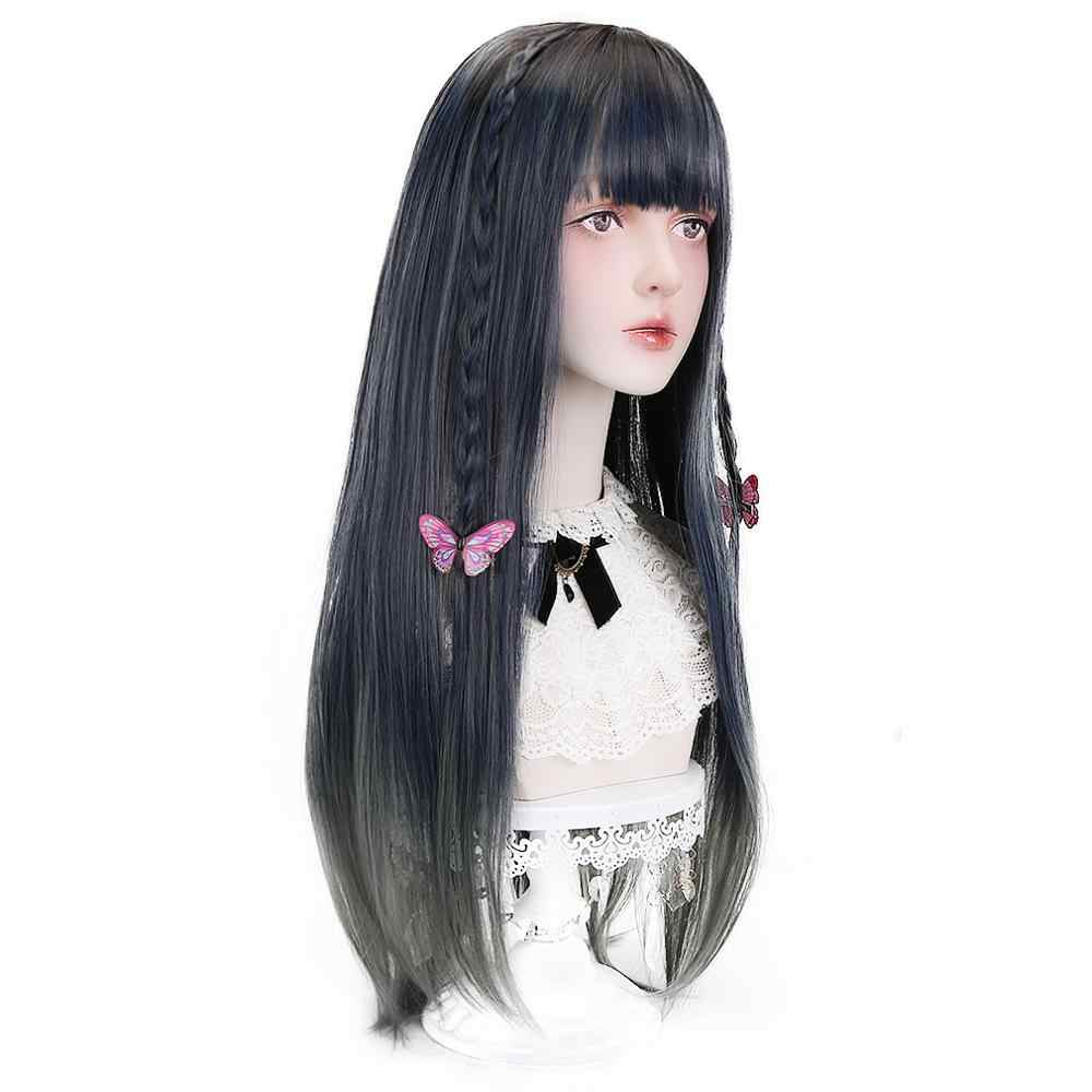 Free Beauty Long Straight Synthetic Ombre Dark Green Hair Wigs with Air Bangs for Women Japan Lolita Cosplay Costume Halloween