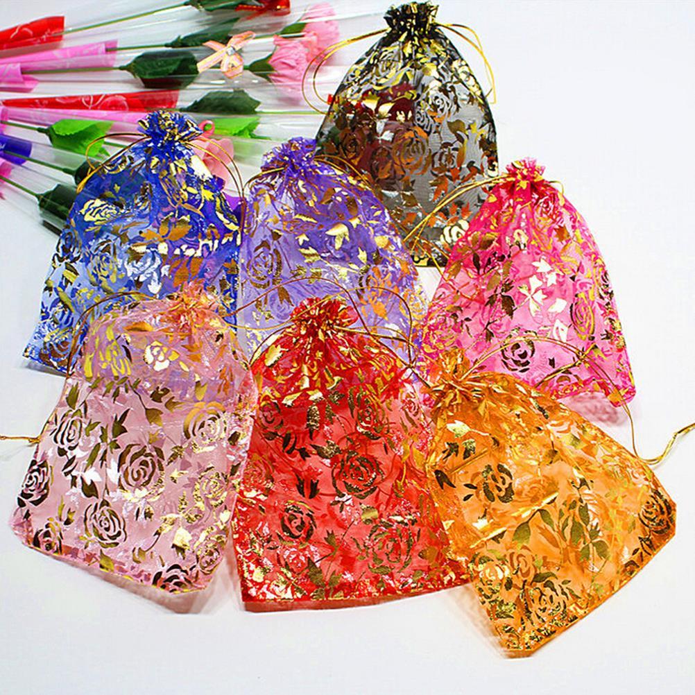 10Pcs/lot Drawstring Bags Random Mixed Gold Drawable Organza Gift Bags & Pouches 13x18cm