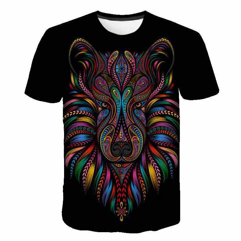 Erkekler yaz rahat moda T-Shirt 2019 yeni özelleştirilebilir Streetwear komik korku T-Shirt erkek kadın kurt kaplan aslan üstleri T-Shirt