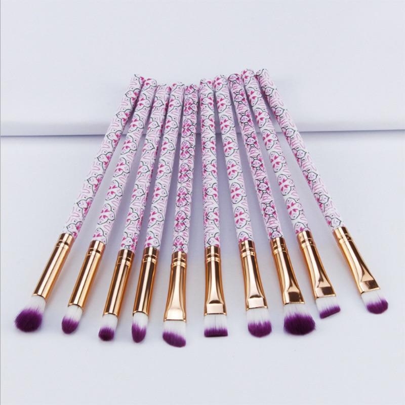 10pcs/Lot Eyeliner Makeup Brushes Set Women Make Up Tools Eyebrow Cosmetic Kit Bohemia Style Brush