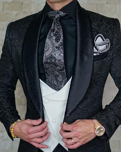 SZMANLIZI мужские свадебные костюмы 2019 итальянский дизайн на заказ черный смокинг пиджак 3 шт TERNO для жениха костюмы для мужчин - 3