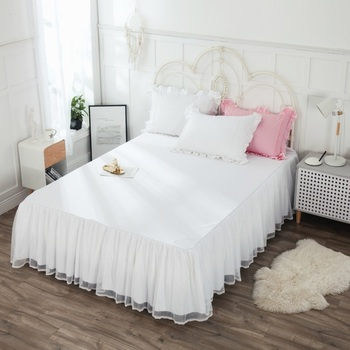 Bed Skirt 100% Cotton White Solid Color Easy Off Easy on Bed Cover Thick Bedspread Single/double Adults Elastic Band Bed Skirt