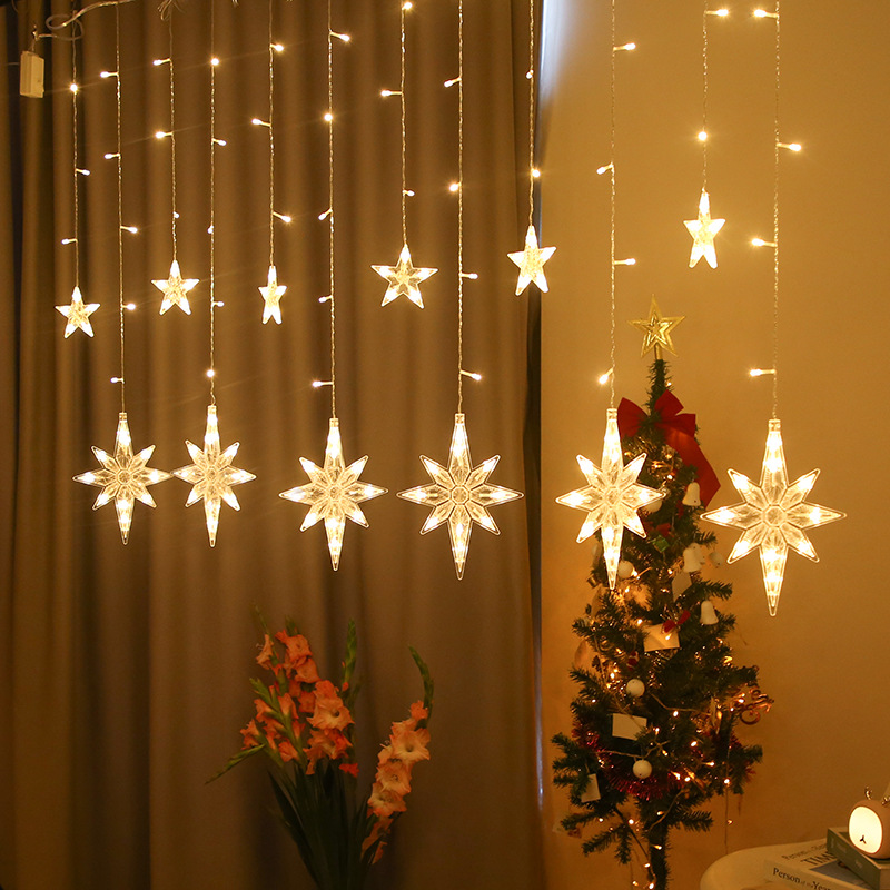 Festo Natal luzes de fadas levou luzes da corda estrela lua guirlandas na janela cortina interior rvore decorao casa do dia das bruxas