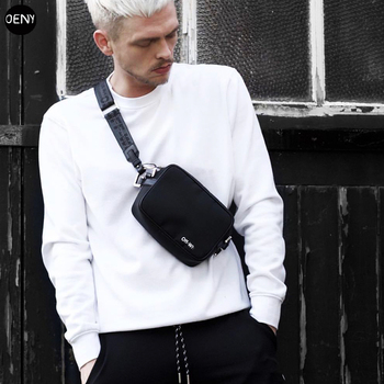 OENY new fashion PVC nylon waterproof cloth bag diagonal package yellow trend industrial belt men's and women's chest bag simpl