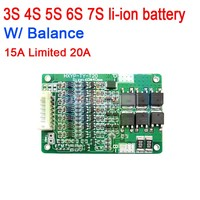 3 s 4S 5S 6 s 7 s 15a com equilíbrio li-ion 18650 bms bateria de lítio placa de proteção bms lipo 12 v 16.8 v 21 v 25.2 v 24 v células blocos